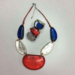 Mother Of Pearl Resin Chunky Necklace Bracelet Set